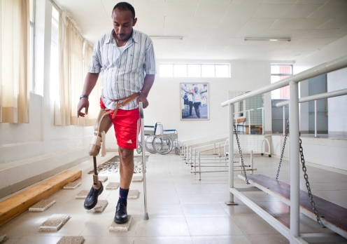 Derina Mekonnen practices using a prosthetic leg in a hospital for the disabled in Addis Ababa Ethiopia on May 14, 2013.